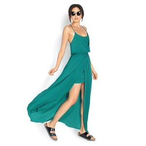 Forever 21 Green Show Off T-Back Maxi Dress